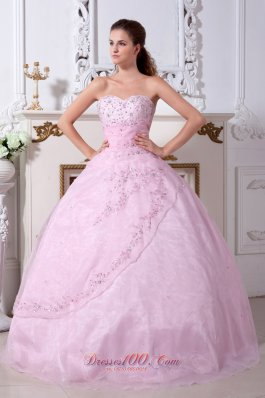 Exquisite Baby Pink Sweetheart A-line Appliques Sweet 16 Dress
