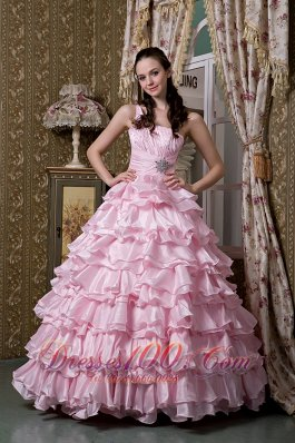 Baby Pink One Shoulder Ruffled Layers Quinceanera Dress