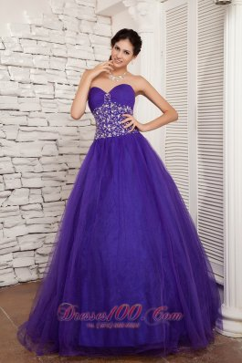 Purple A-line Sweetheart Sweet 16 Dress Floor-length Ruch