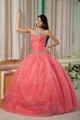 Watermelon Beading Floor-length Quinceanera Dress