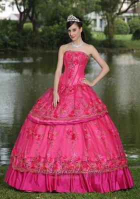 Hot Pink Hand Flowers Taffeta Strapless Quinceanea Dress