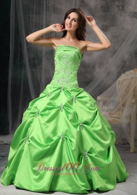 Spring Green Floor-length Taffeta Quinceanea Dress