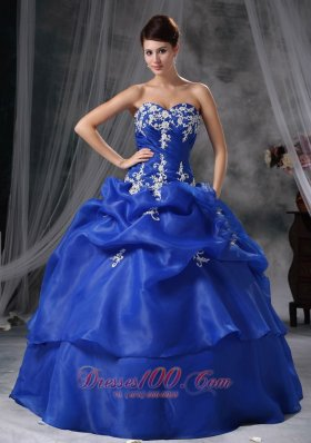 Blue Sweetheart Organza Appliques Quinceanea Dress