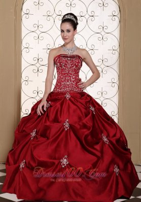 Wine Red Pick-ups Embroidery Strapless Quinceanea Dress