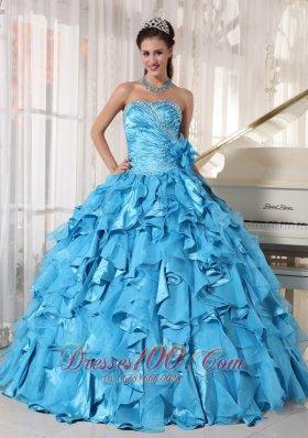 Aqua Blue Quinceanera Dress Beading Hand Flower