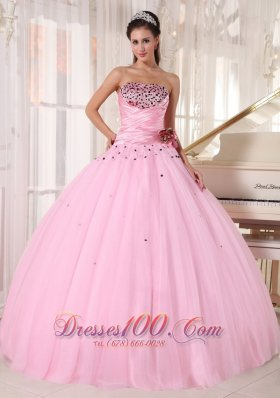 Baby Pink Quinceanera Dress Strapless Tulle Ruch
