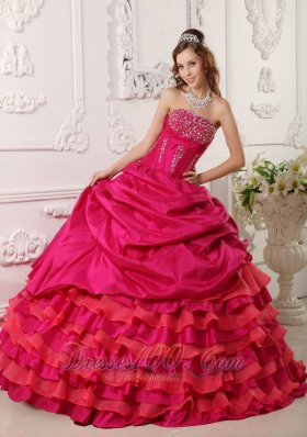 Affordable Red Quinceanera Dress Around 200 Beading Strapless