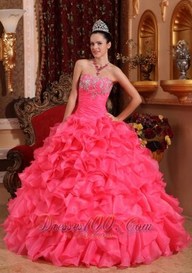 Hot Pink Bead Appliques Ruffles Strapless Quinceanea Dress