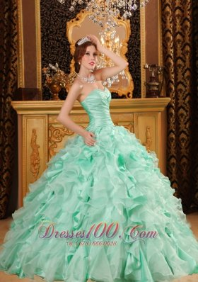 Apple Green Sweetheart Floor-length Quinceanera Dress Ruffles