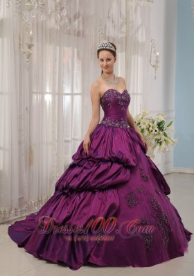 Eggplant Purple Quinceanera Dress Appliques Beading Court Train