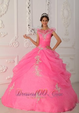 V-neck Rose Pink Quinceanera Dress Under 200 Appliques Pick-ups