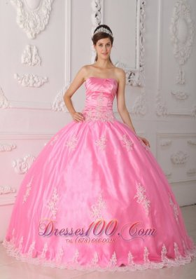 Pink Quinceanera Dress Strapless Appliques Floor-length