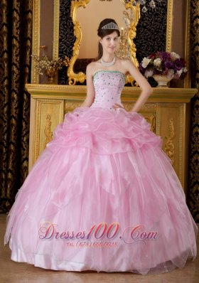 Baby Pink Sweet 16 Dress Beading Organza