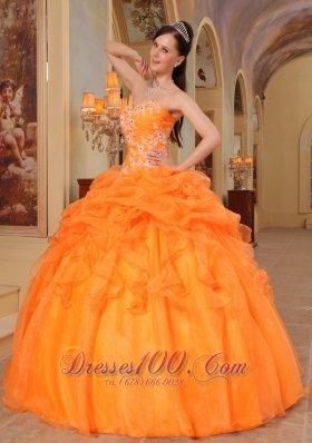 2013 Light Orange Quinceanera Dress Appliques Sweetheart