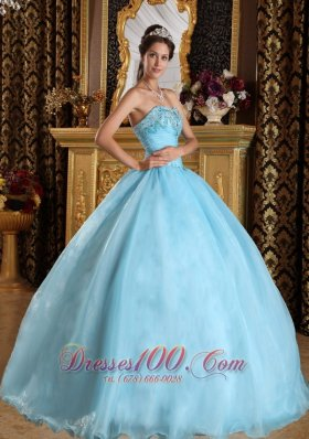 Aqua Blue Quinceanera Dress Bead Floor-length Sweetheart