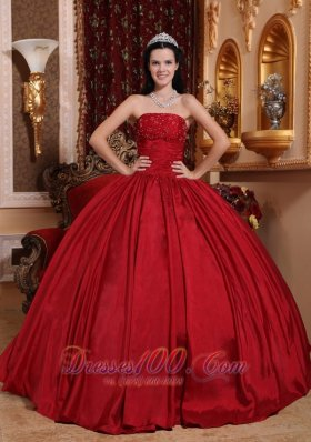 Red Floor-length Taffeta Beading Quinceanera Dress