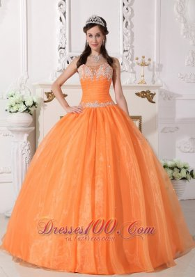 Orange Quinceanera Dress Floor-length Appliques