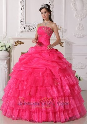 Hot Pink Quinceanera Dress Appliques Floor-length