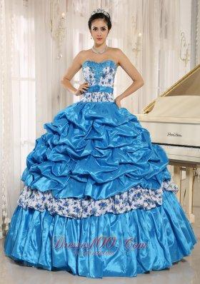 Aqua Blue Sweetheart Printing Quinceanera Dress Pick-ups