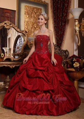 2013 Wine Red Quinceanera Dress Strapless Floor-length