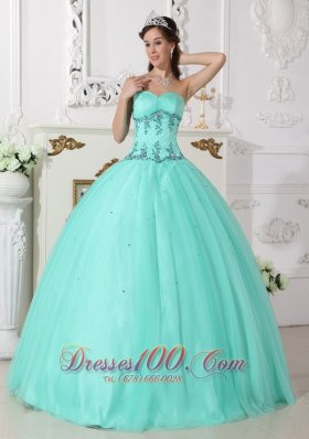 Apple Green Quinceanera Dress Under 200 Beading Floor-length