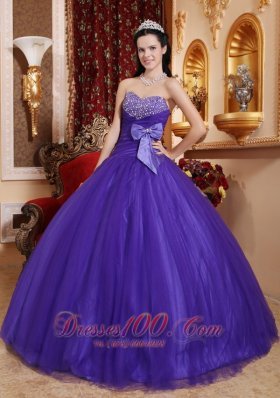 Purple Tafftea Bead Quinceanera Dress Bow Sweetheart