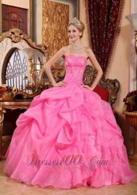 Rose Pink Quinceanera Dress Appliques Pick-ups