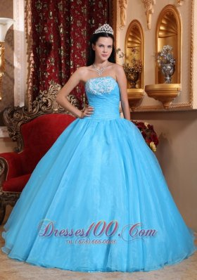 Baby Blue StraplessQuinceanera Dress Appliques Beading
