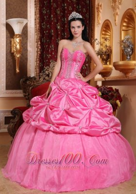 Rose Pink Quinceanera Dress Appliques Beading Floor-length