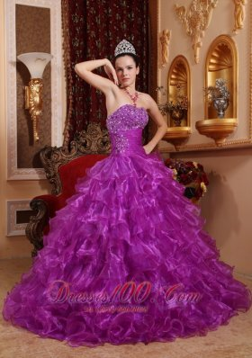 Purple Dresses for Quince Beading Ruffles Strapless