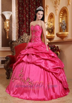 2013 Hot Pink Quinceanera Dress Appliques Beading