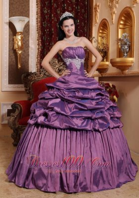 Lavender Quinceanera Dress Appliques Pick-ups