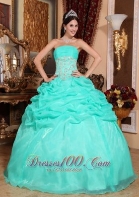 2013 Turquoise Quinceanera Dress Appliques Pick-up