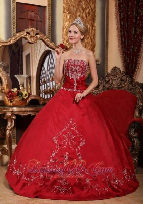 Pretty Wine Red Quinceanera Dress Floor-length Embroidery