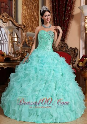 bdd992a8037 Apple Green Quinceanera Dress Beading Ruffles Sweetheart