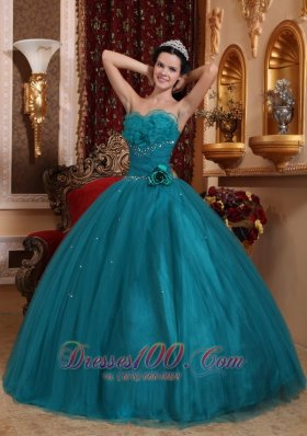 Dark Green Bead Handle Flowers Quinceanera Dress Sweetheart