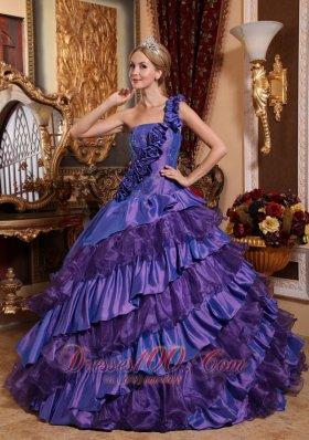 Purple Quinceanera Dress One Shoulder Hand Flowers Ruffles
