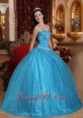 Blue Spaghetti Straps Sequined Bead Quinceanera Dress Appliques