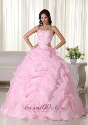 Pink Bead Floor-length Quinceanera Dress Strapless Organza Puffy