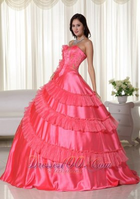 Embroidery Coral Red Floor-length Strapless Quinceanera Dress