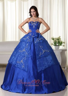 Royal Blue Strapless Organza Embroidery Quinceanera Dress