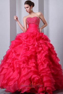 Coral Red Ruffles Beading Quinceanea Dress A-Line Sweetheart