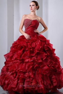 Wine Red Beading and Ruffles Quinceanea Dress A-Line Sweetheart
