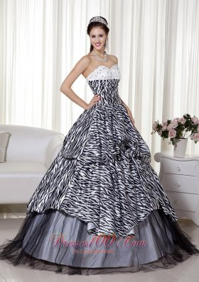 Luxurious A-line Sweetheart Zebra Print Quinceanera Dress