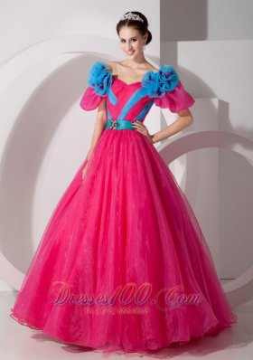 Unique Hot Pink Off the Shoulder Quincenera Dress