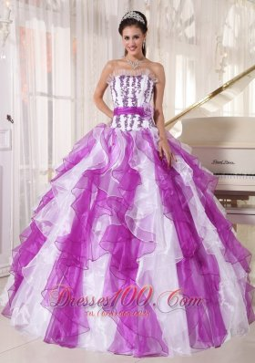 Coloful Quinceanera Dress Appliques Ruffle Sash