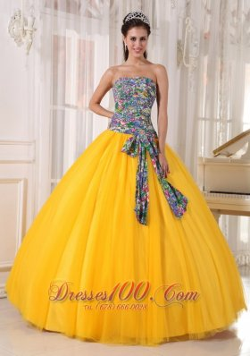 Best Seller Colorful and Yellow Sweet 16 Dress Bowknot
