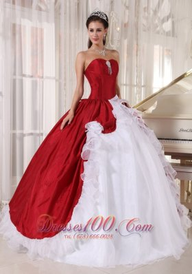 Beautiful Wine Red and White Quinceanera Gowns 2013