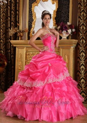 Pretty Hot Pink Ruffles Beading Sweet 16 Dresses 2013