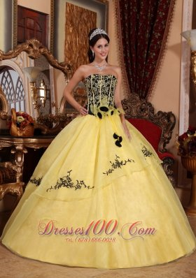 Beautiful Black and Yellow Sweet 15 Dress